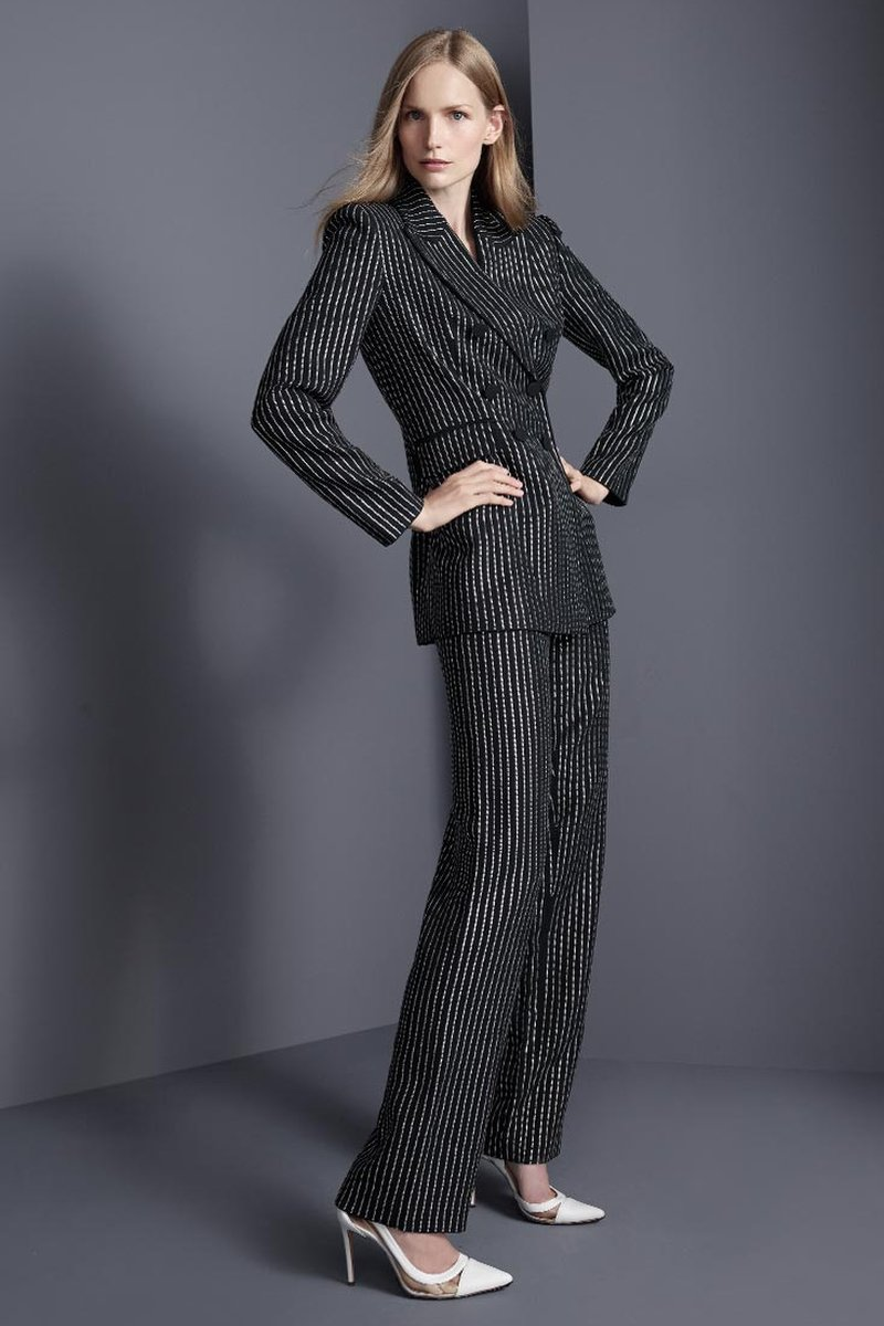 Michael Kors Collection Crystal Pinstriped Double-Breasted Dinner Jacket
