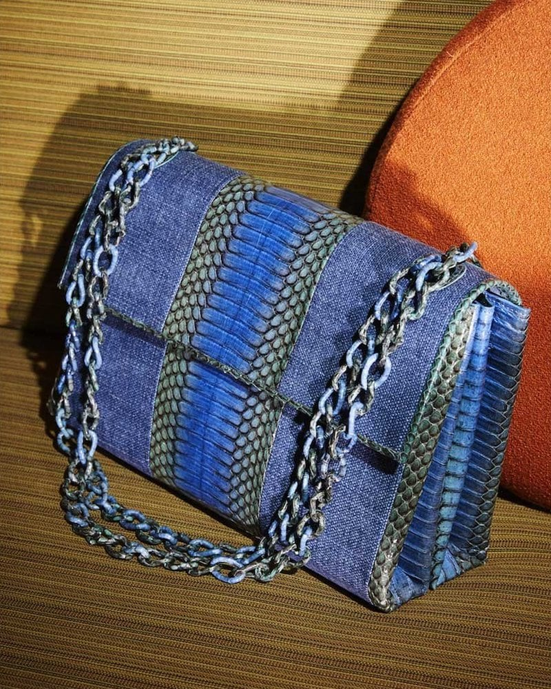 Nancy Gonzalez Madison Medium Linen:Snake Chain Shoulder Bag