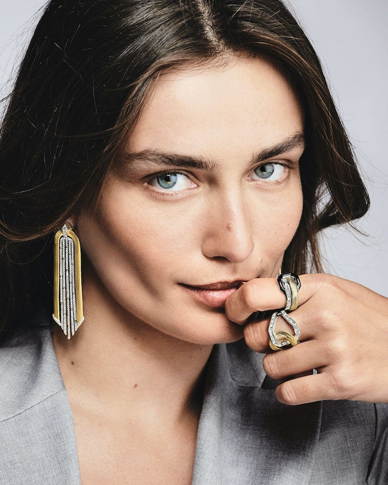 Nikos Koulis 18k Two-Tone Feelings Diamond Drop Earrings