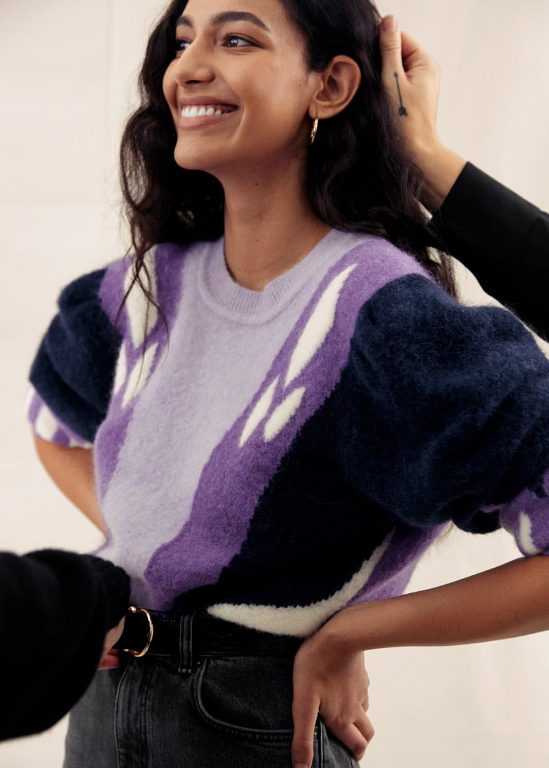 & Other Stories Colour Block Puff Shoulder Sweater