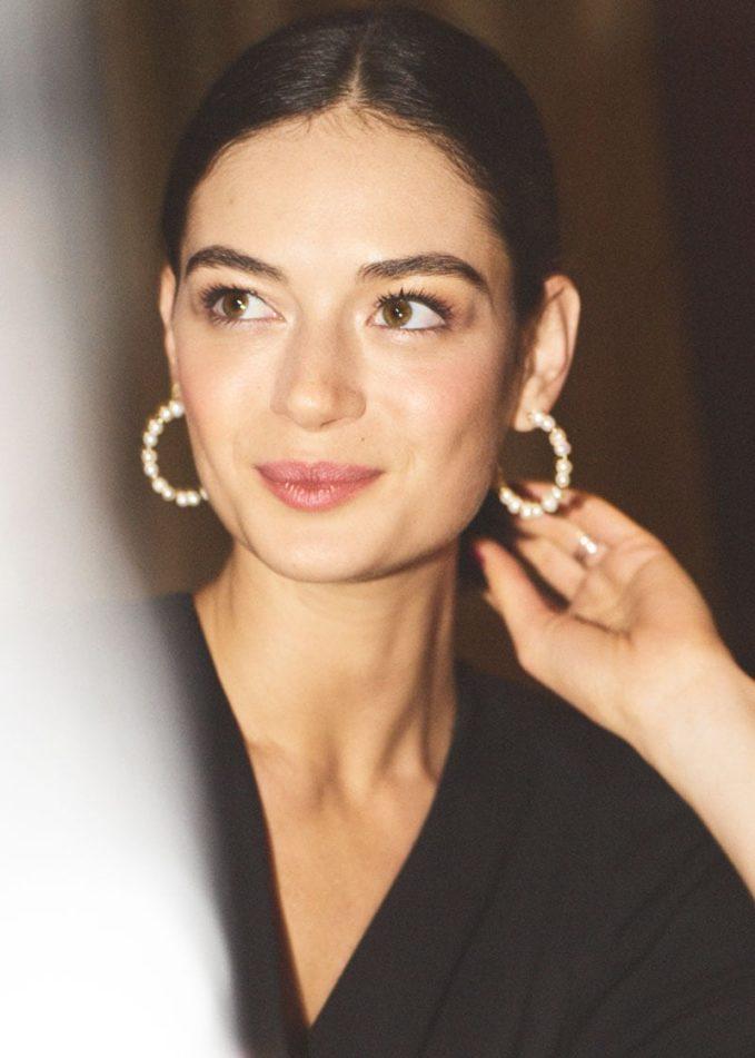 & Other Stories Organic Pearl Open Hoop Earrings