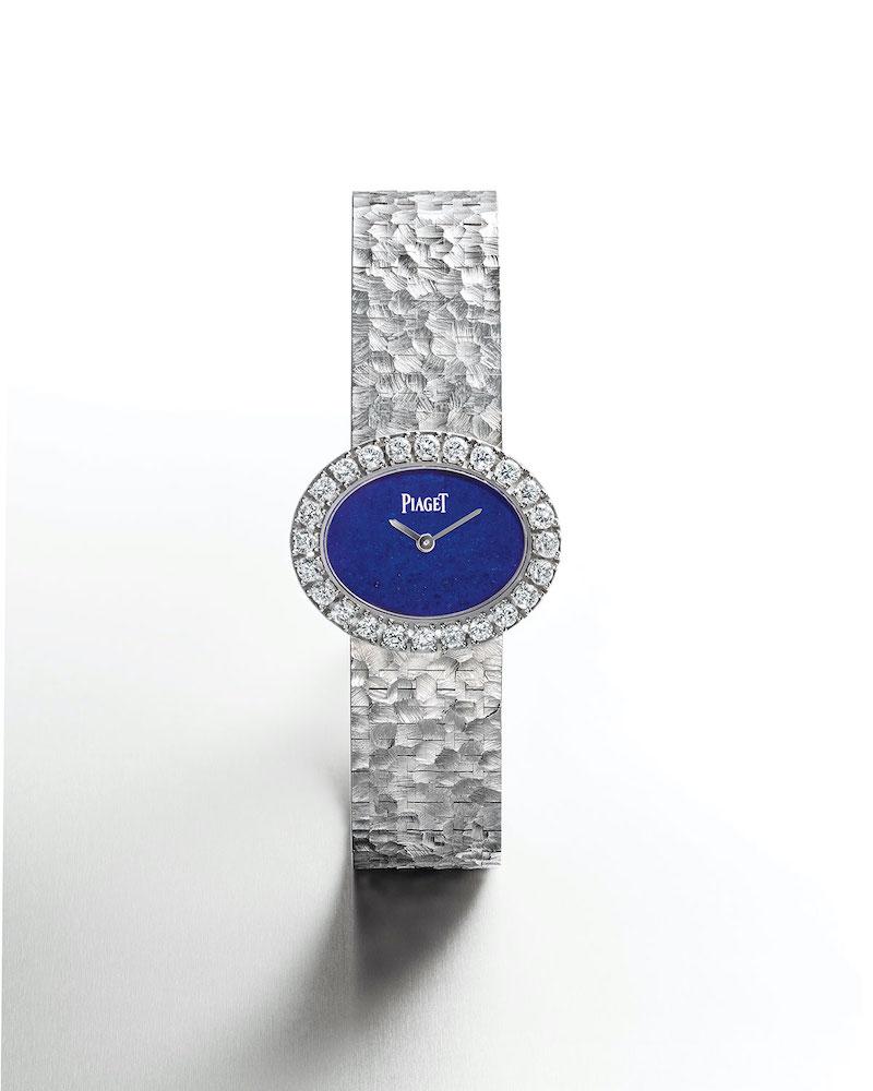 PIAGET 18k White Gold Lapis Jewelry Watch w: Diamonds