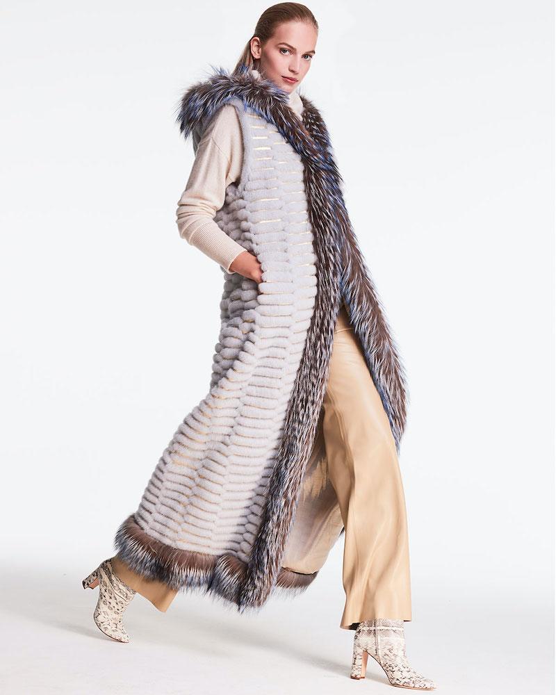 Pajaro Long Mink Fur Hooded Vest W/ Silver Fox Trim
