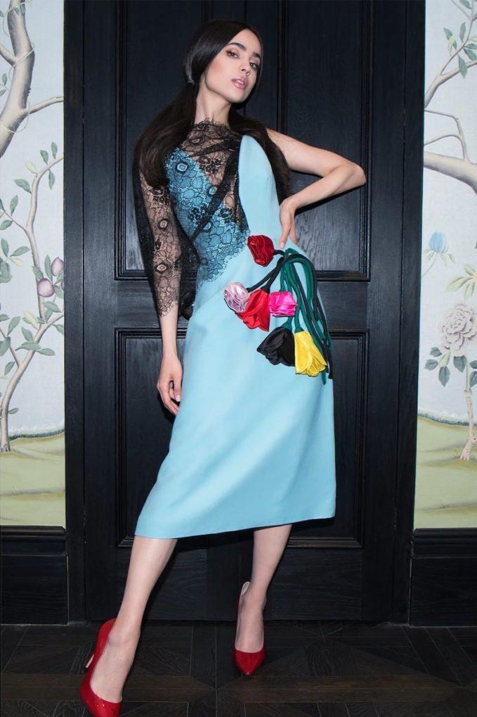 Prada Natté Lace & Gabardine Midi Dress