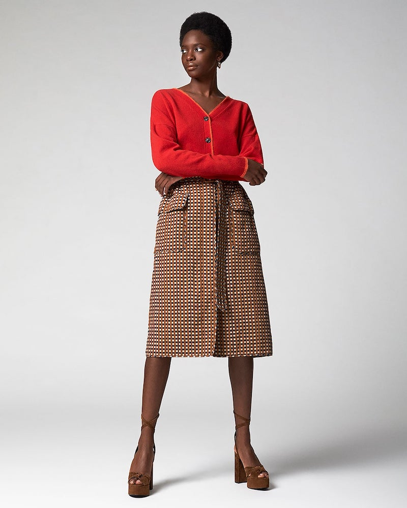 Preen by Thornton Bregazzi Madera Belted Checked Twill Skirt