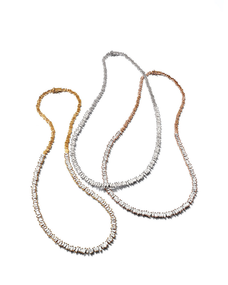 Suzanne Kalan 18k Diamond-Baguette Tennis Necklace