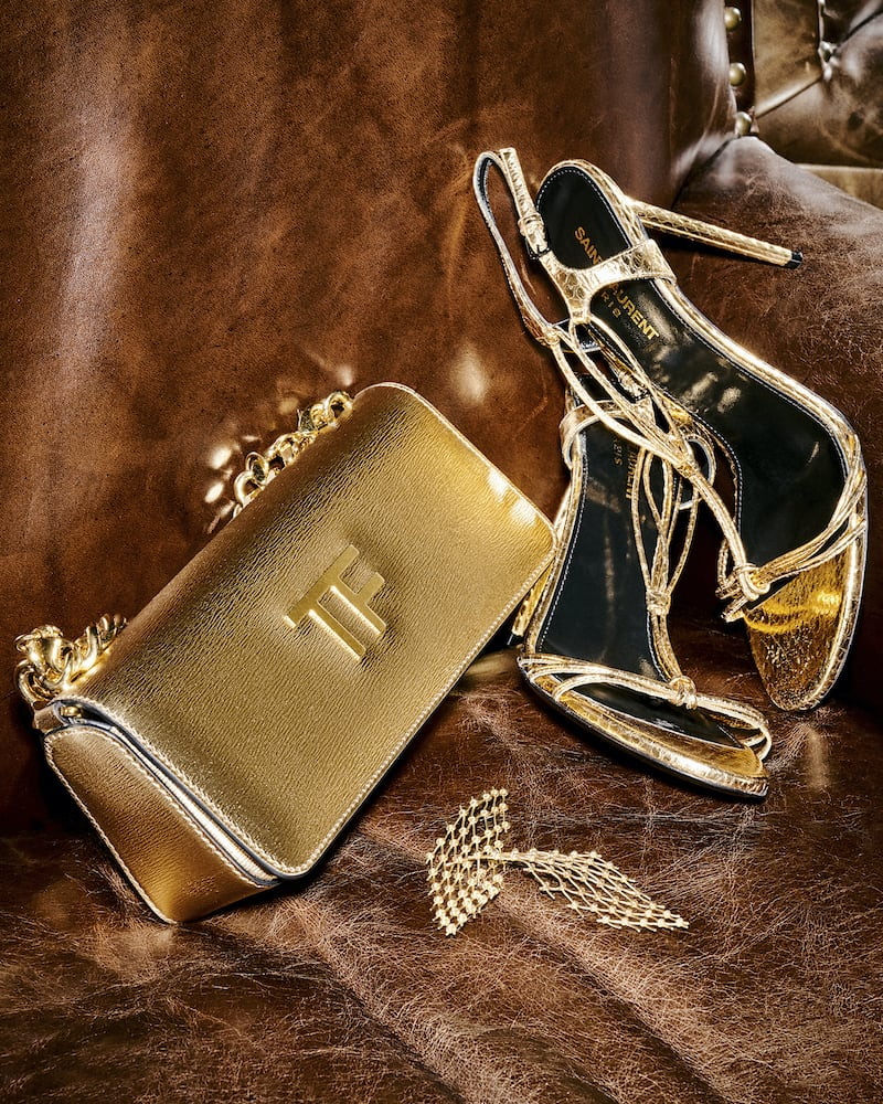 TOM FORD Triple Chain Small Embellished Metallic Leather Shoulder Bag