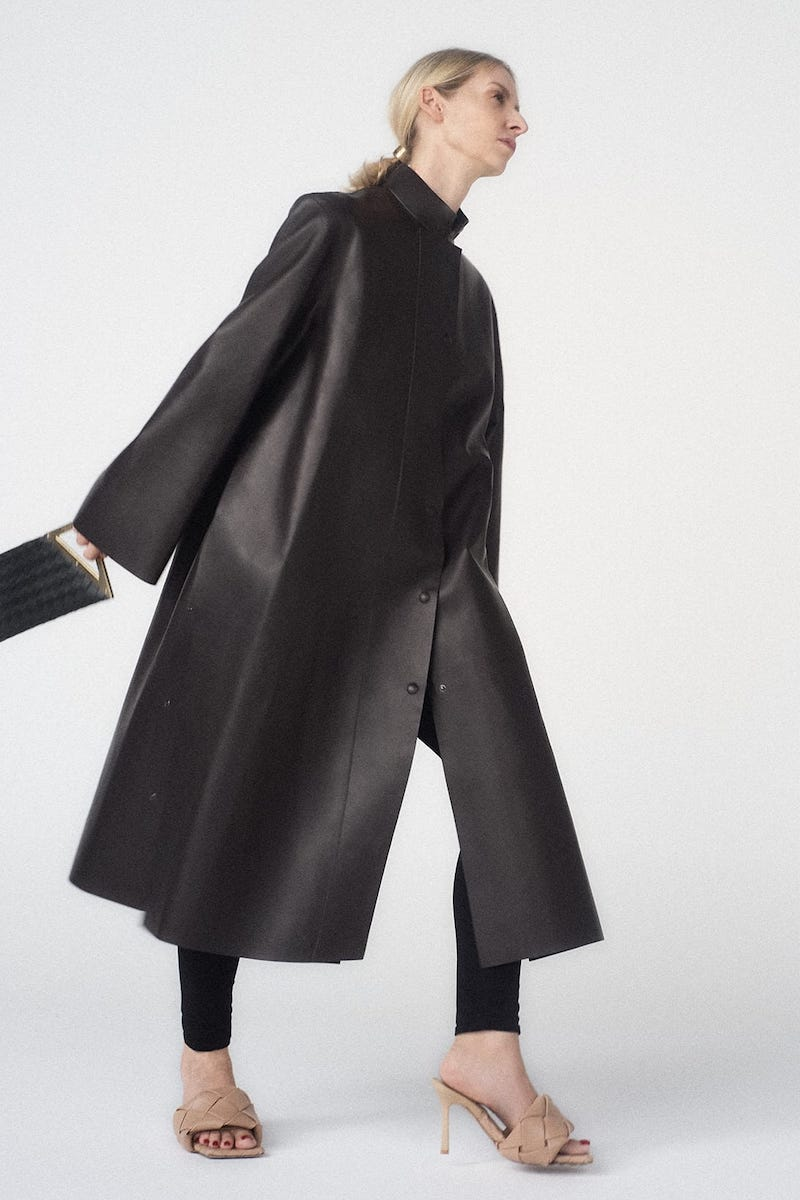 The Row Emely Waxed-Leather Coat