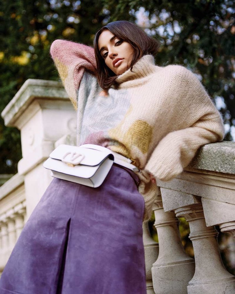 Valentino Camellia Flower Fuzzy Knit Sweater