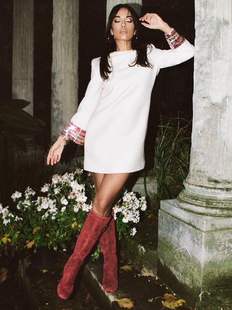 Valentino Embroidered-Cuff Dress