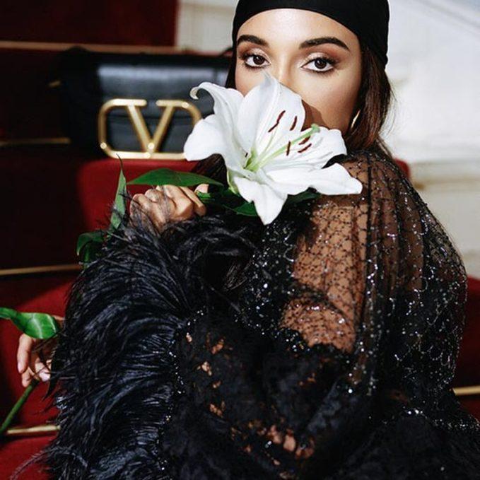 Valentino Feather-Trim Lace Dress 1