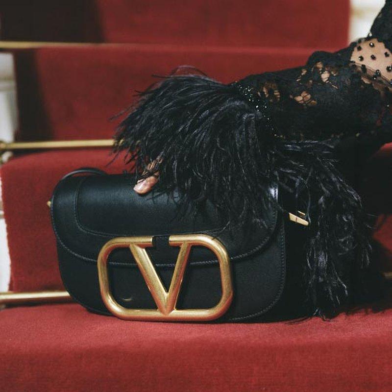 Valentino SuperV Smooth Leather Shoulder Bag