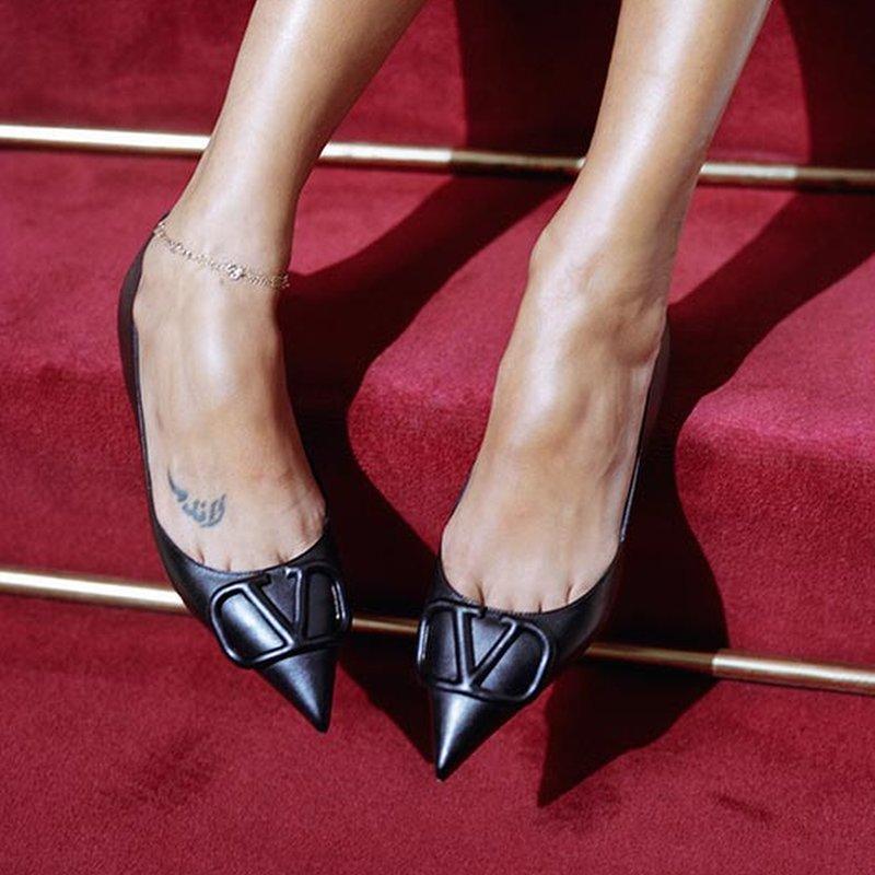 Valentino VLOGO Leather Ballet Flats With Tonal Logo