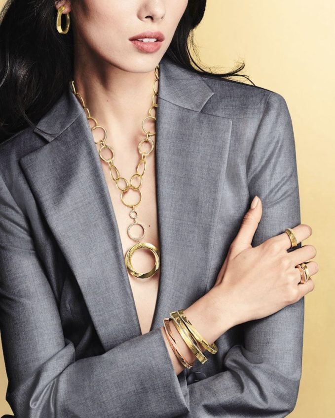 Vendorafa 18k Hula Hoop Diamond-Pave Y-Drop Necklace