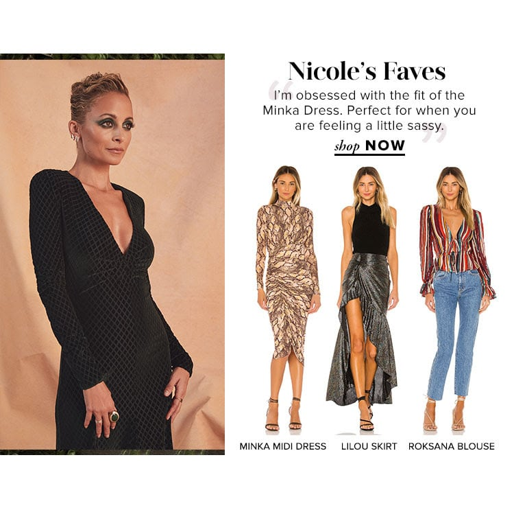 """Nicole's Faves. """"I'm obsessed with the fit of the Minka Dress. Perfect for when you are feeling a little sassy."""" SHOP NOW"""