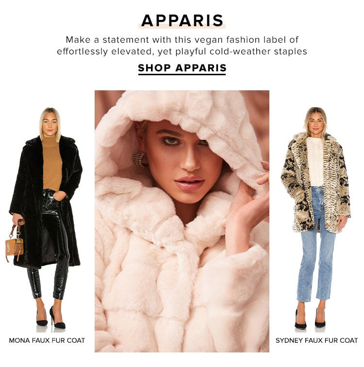 Apparis. Make a statement with this vegan fashion label of effortlessly elevated, yet playful cold weather staples. SHOP APPARIS