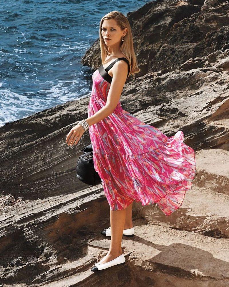 CHANEL Printed Silk Muslin Dress