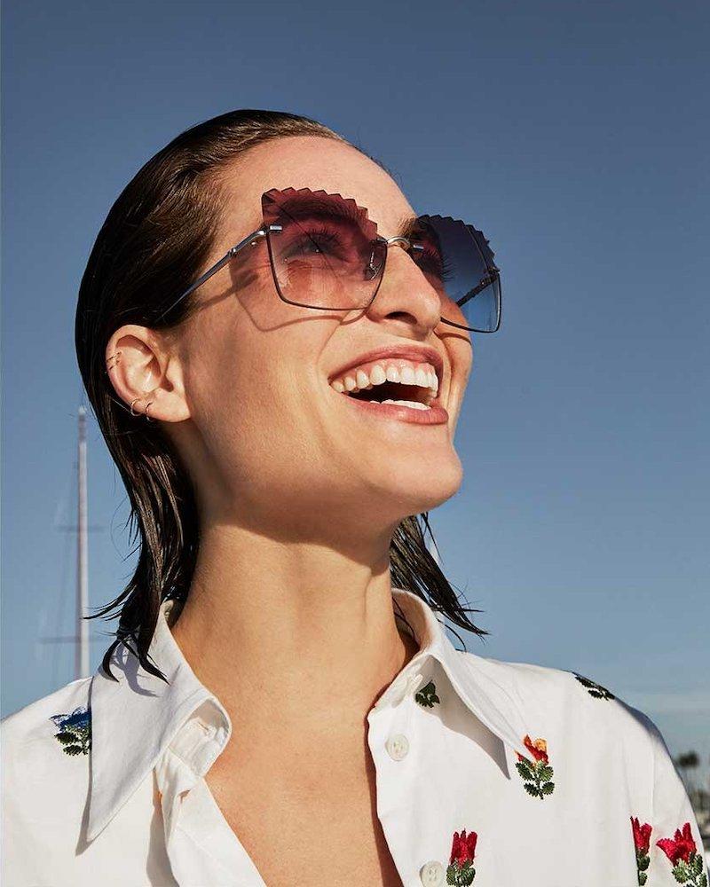 Carolina Herrera Laser-Cut Titanium Sunglasses