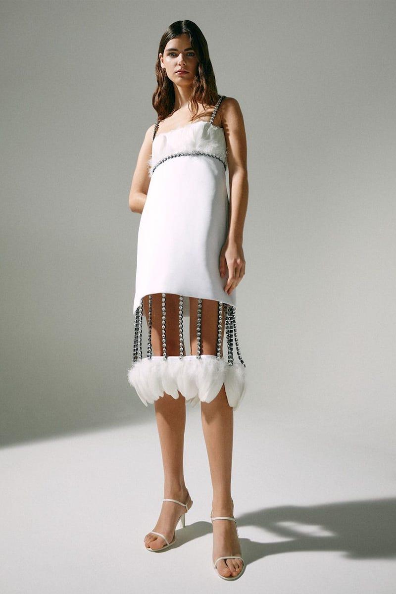 Christopher Kane Cupchain-Strap Removable-Hem Duchesse-Satin Dress