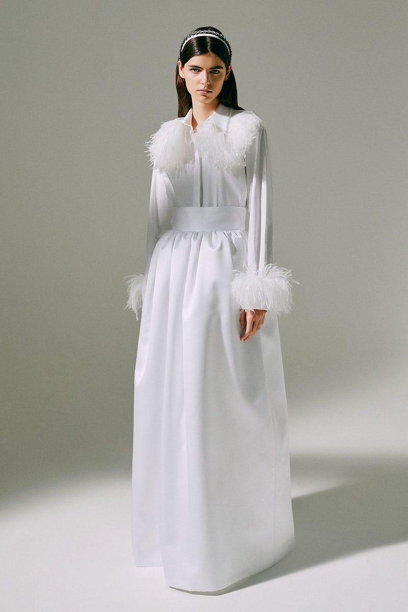 Christopher Kane Feather-Trim Cotton-Poplin Shirt