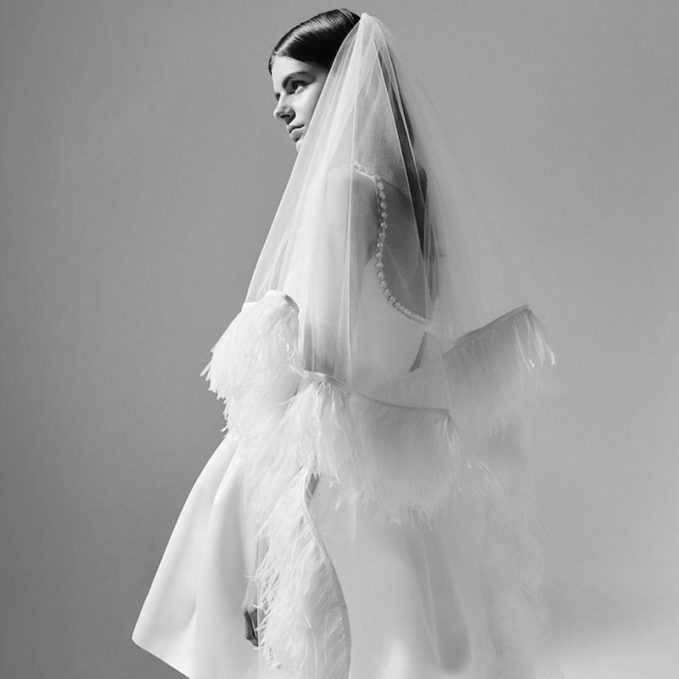 Christopher Kane Ostrich Feather-Trimmed Tulle Veil