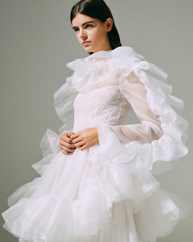 Christopher Kane Ruffled Dip-Hem Silk-Organza Dress