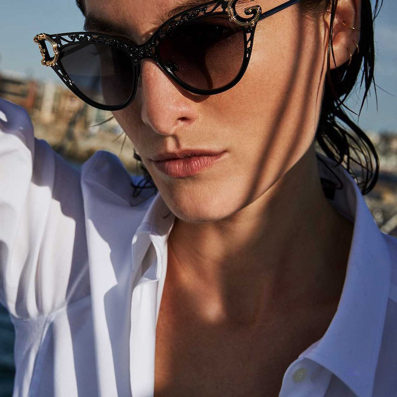 Dolce & Gabbana Metal Scroll Mirrored Cat-Eye Sunglasses