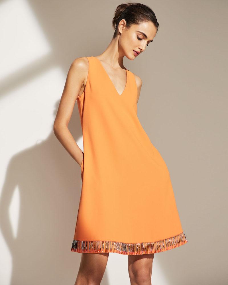 Emporio Armani Bugle-Beaded Sleeveless Silk-Cady A-Line Dress