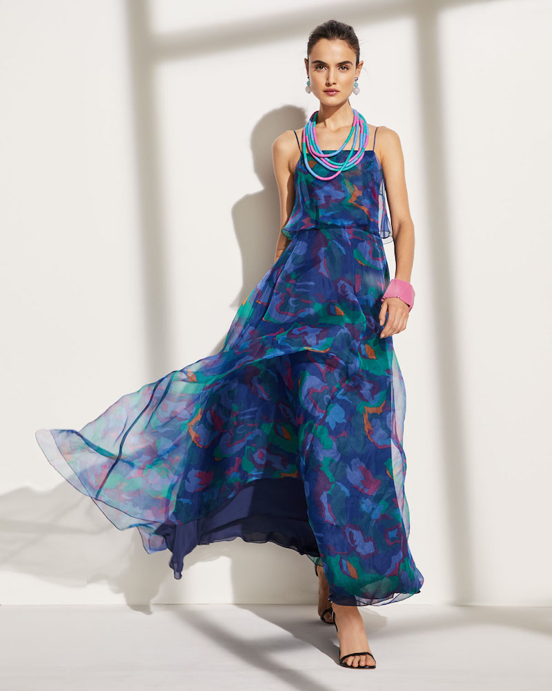 Emporio Armani Square-Neck Floral Print Chiffon Long Dress
