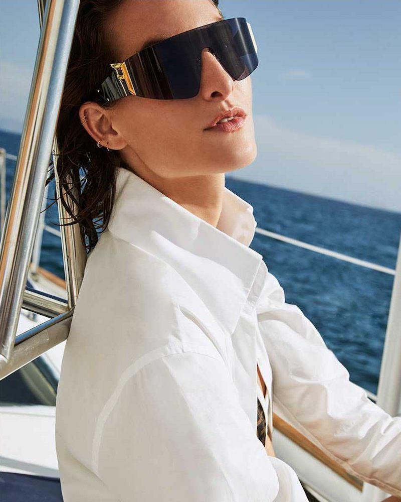 Fendi Rimless Wrap Shield Sunglasses