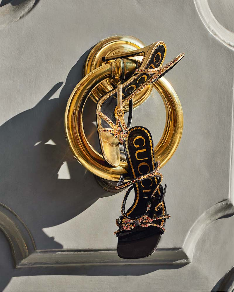 Gucci Carmen Crystal-Embellished Metallic Sandals