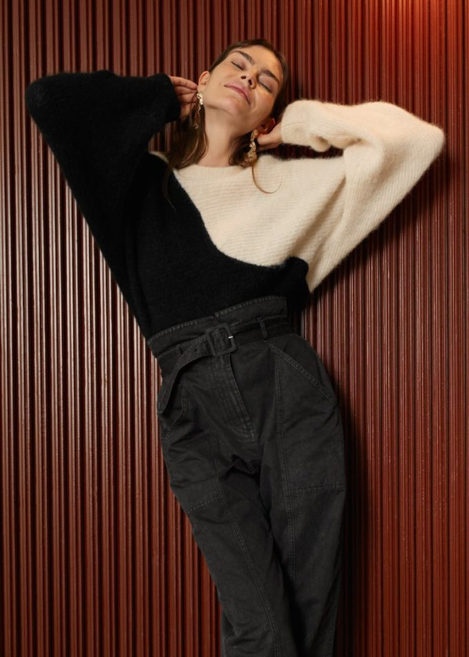 & Other Stories Alpaca Blend Cropped Colour Block Sweater