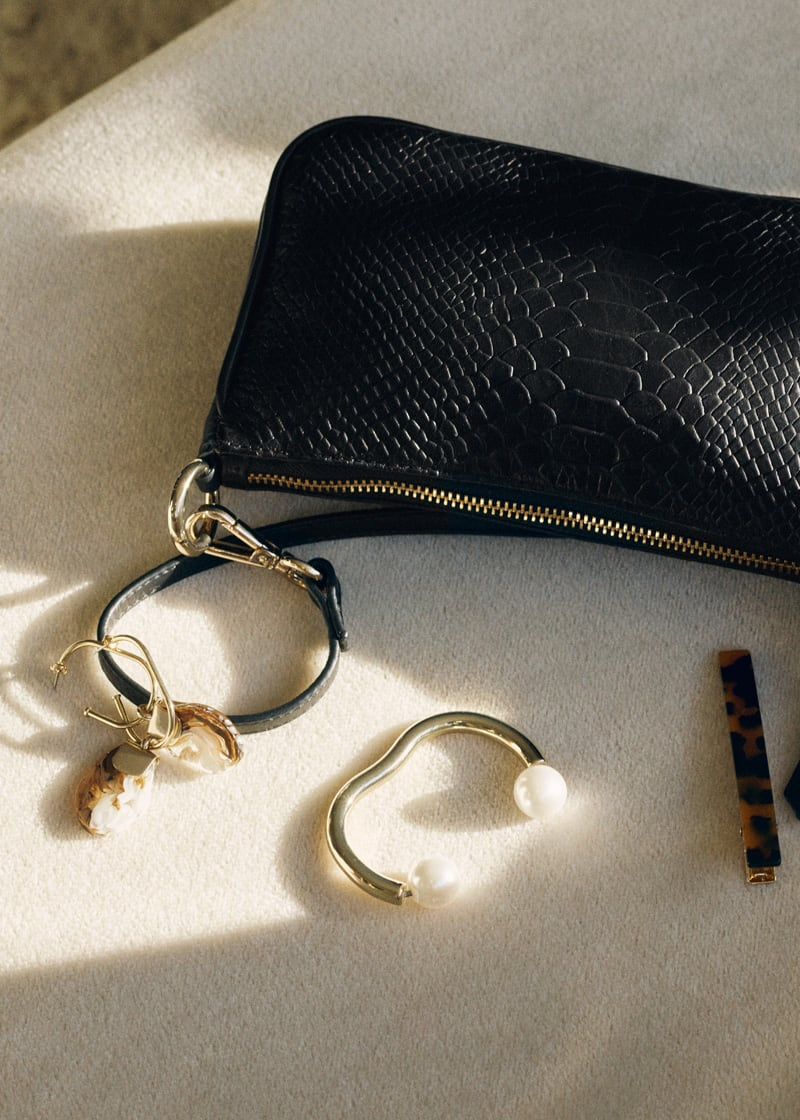 & Other Stories Croc Leather Mini Shoulder Bag