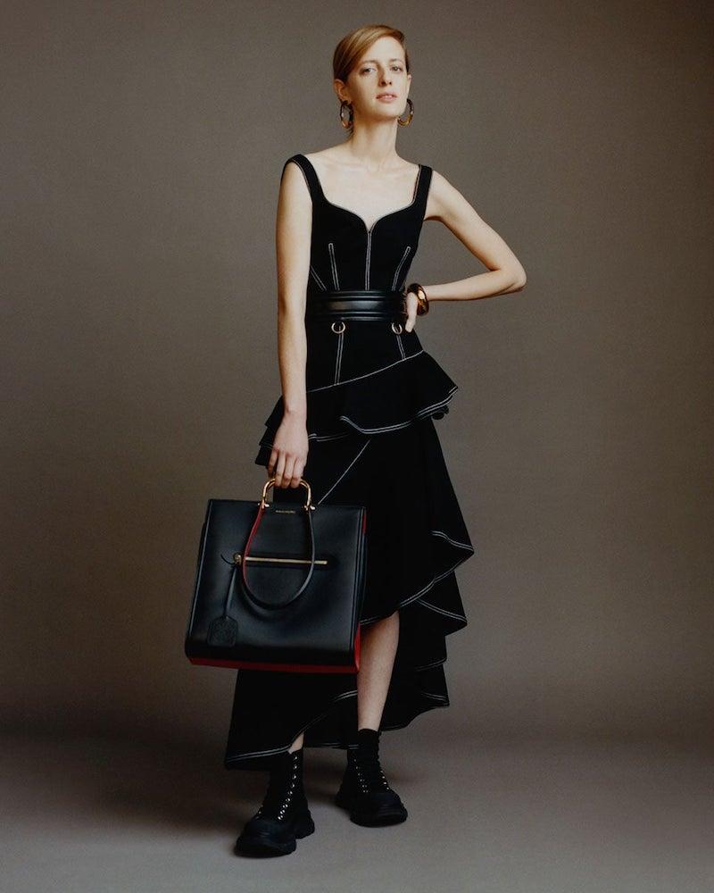 Alexander McQueen Asymmetric Topstitched Cotton-Denim Dress