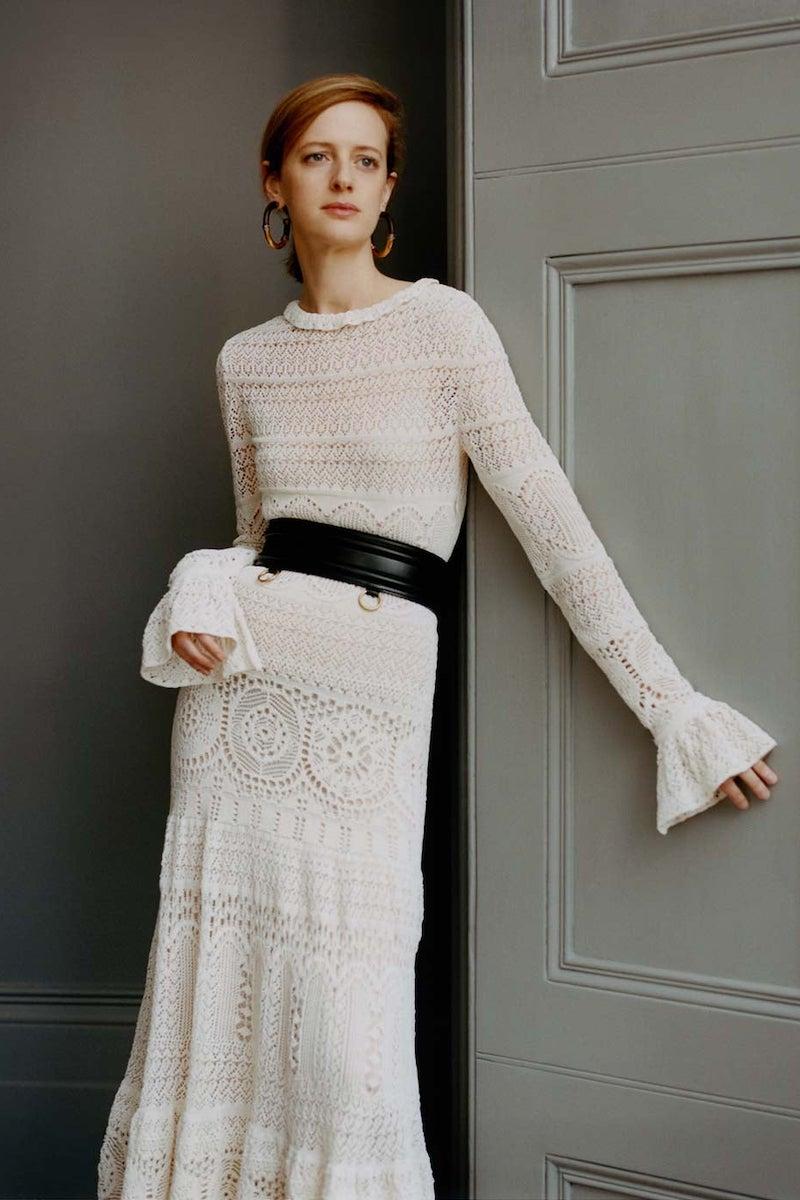 Alexander McQueen Frilled-Neck Crochet-Lace Cotton-Blend Dress