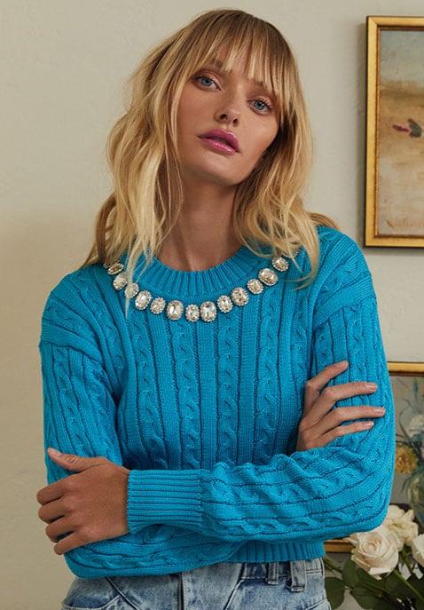 GIUSEPPE DI MORABITO Cropped Cable Knit Sweater