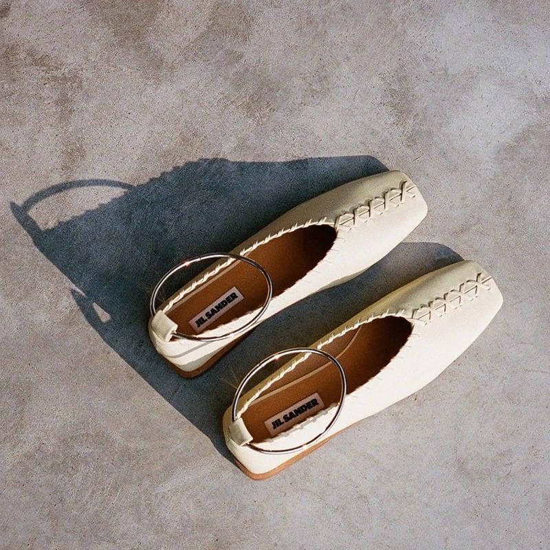 Jil Sander 10mm Metal Ankle Stitched Leather Flats