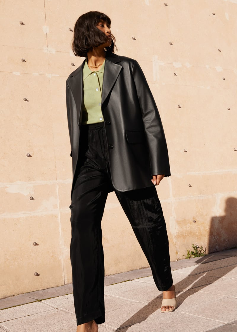 & Other Stories Nylon Wide Leg Drawstring Trousers