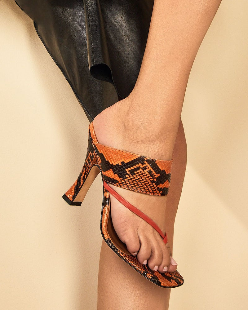 Paris Texas 95mm Python-Print Crossover Thong Sandals