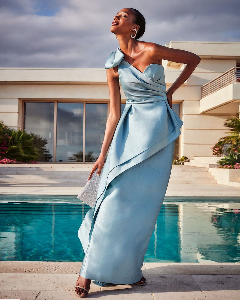 Rickie Freeman for Teri Jon Bow Shoulder Asymmetrical Tiered Mikado Gown