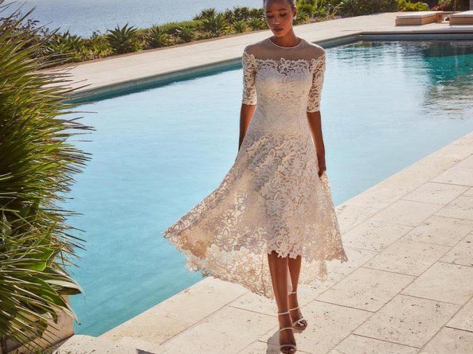 Rickie Freeman for Teri Jon Lace High-Low Mesh-Yoke Gown 1