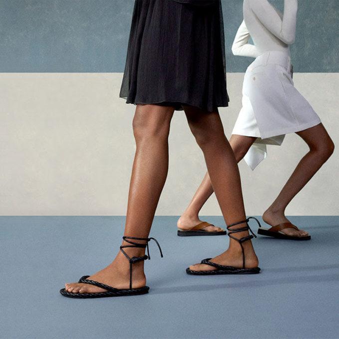 The Rowginza Leather Platform Flip Flops