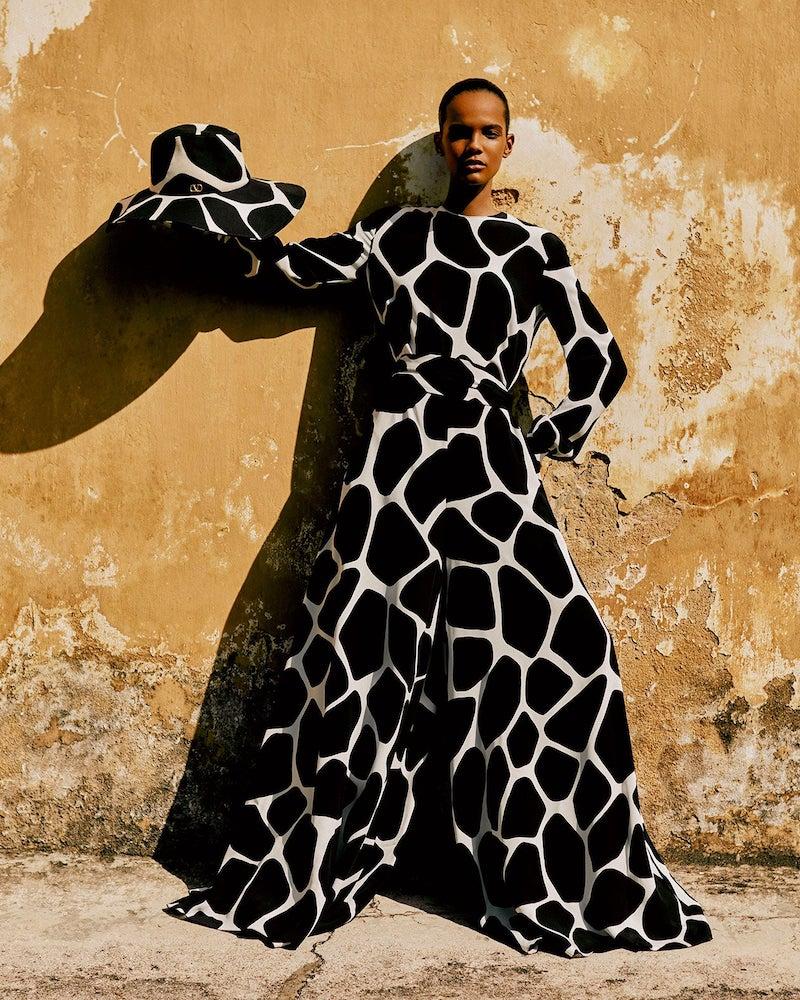 Valentino 1966 Giraffe-Print Silk-Crepe Jumpsuit