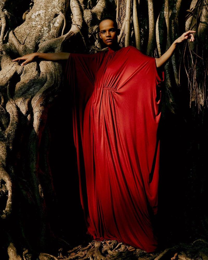 Valentino Cape Draped Satin Gown