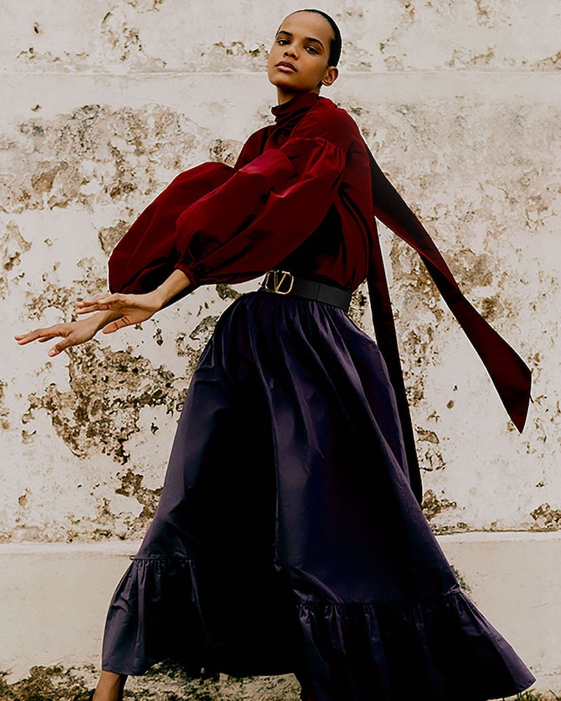 Valentino Gathered-Hem Cotton-Blend Faille Maxi Skirt