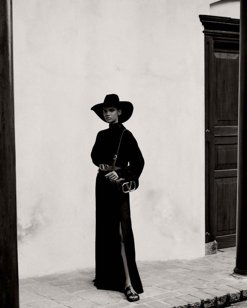 Valentino High-Rise Double-Slit Wool-Blend Skirt