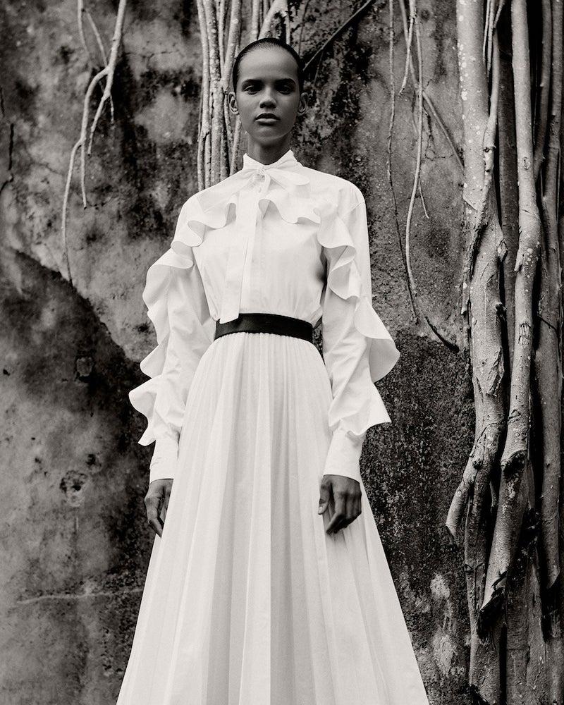 Valentino Ruffled Cotton-Blend Poplin Midi Dress