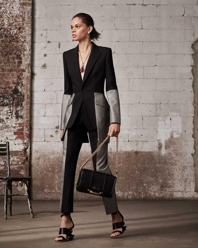 Alexander McQueen Herringbone-Blocked Wool Straight-Leg Trousers