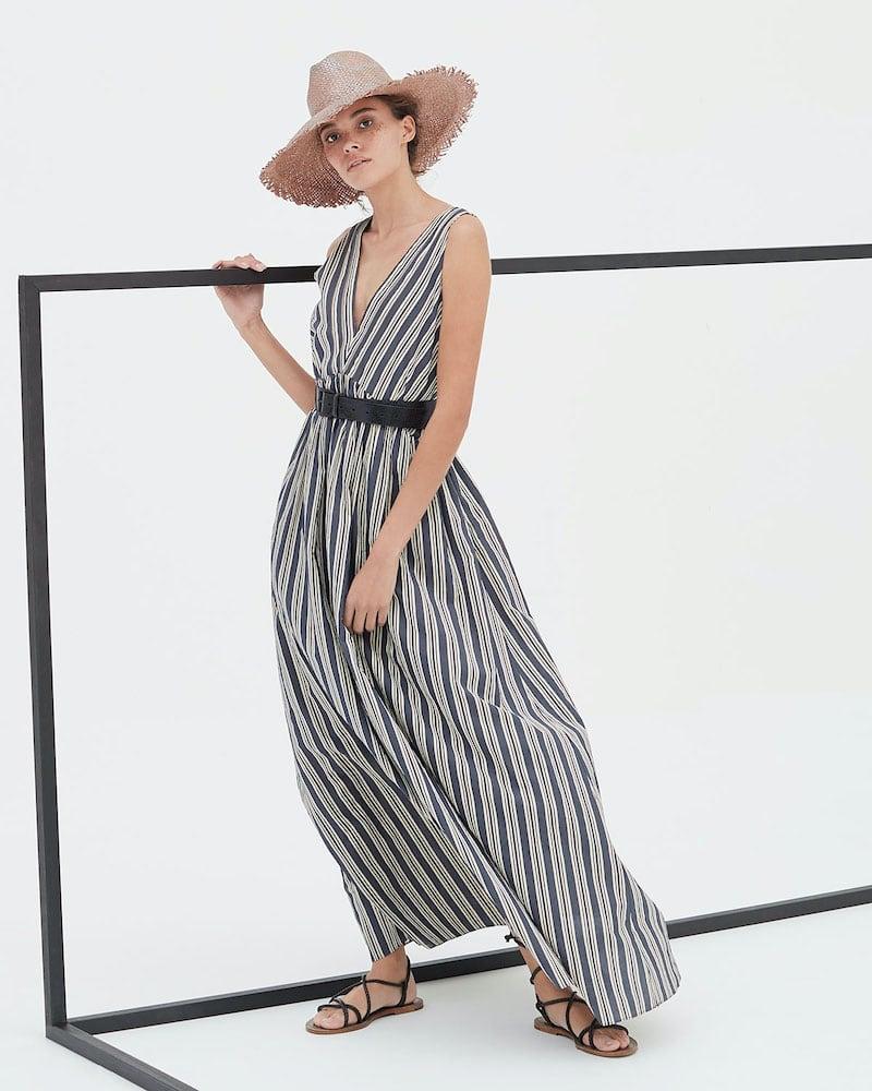 Brunello Cucinelli Regimental Striped Cotton-Silk Dress