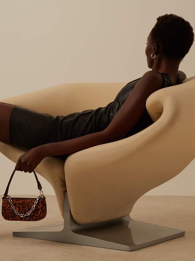 By FAR Rachel Mini Chain-Embellished Leopard-Print Suede Shoulder Bag